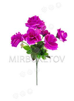 Искусственные цветы Букет Розы с колокольчиком, 7 голов, 450 мм