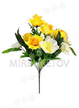 Букет искусственных цветов Розы и Орхидеи, 11 голов, 490 мм