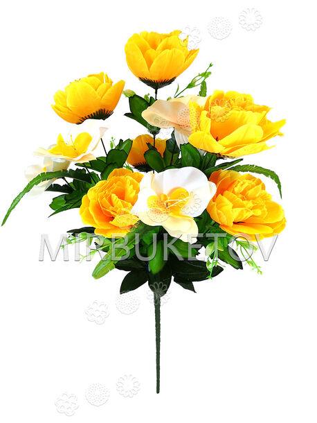 Искусственные цветы Букет Пионов и Орхидеи, 11 голов, 600 мм