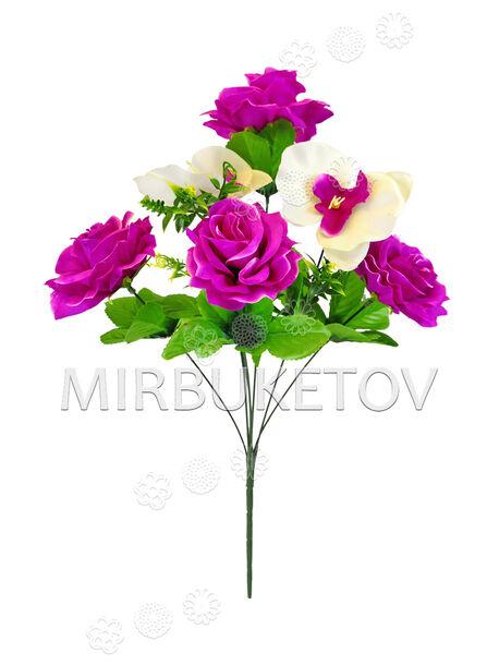 Искусственные цветы Букет Розы, 7 голов, 540 мм
