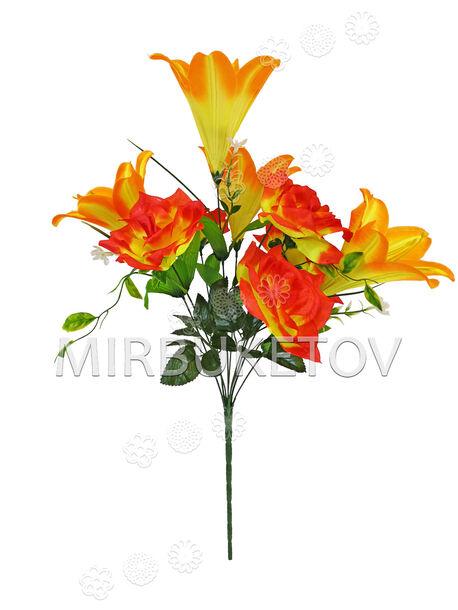 Искусственные цветы Букет Лилии и Розы, 9 голов, 580 мм