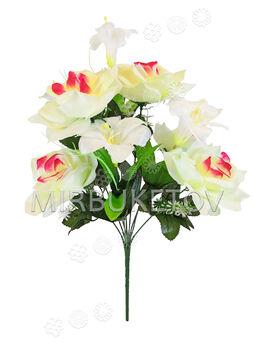 Искусственные цветы Букет Лилии и Розы, 9 голов, 550 мм