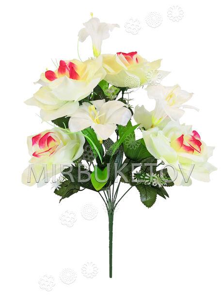 Букет искусственных цветов Лилии и Розы, 9 голов, 550 мм