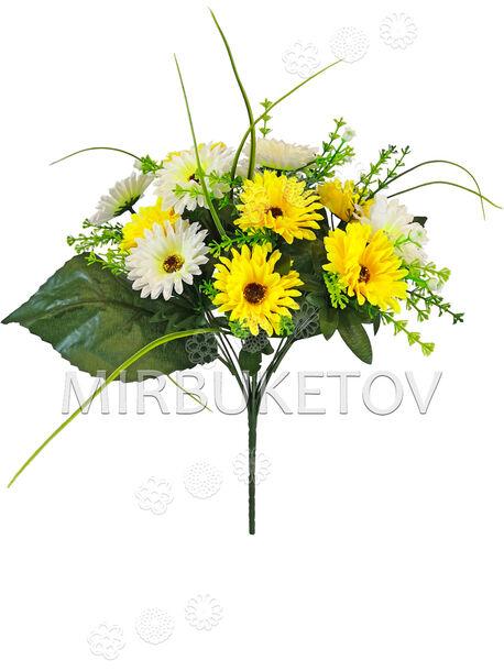 Искусственные цветы Букет двухцветной Хризантемы, 13 голов, 360 мм