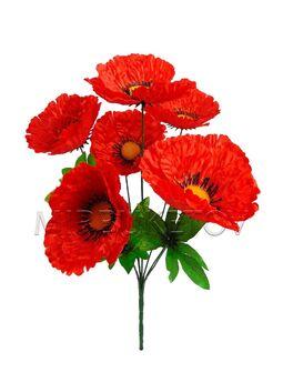 Искусственные цветы букет Красный мак, 6 голов, 390 мм
