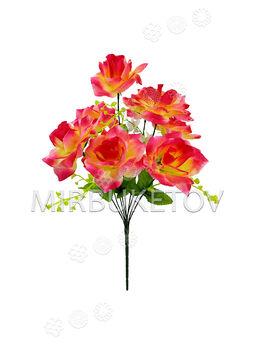Искусственные цветы Букет Роз, 9 голов, микс, 420 мм