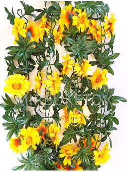 Искусственные цветы Лиана Хризантема с листьями, 270 см