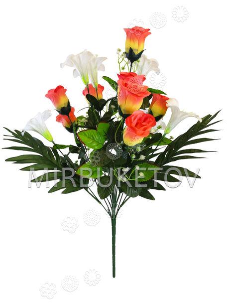 Искусственные цветы Букет Розы и Лилии, 14 голов, 570 мм