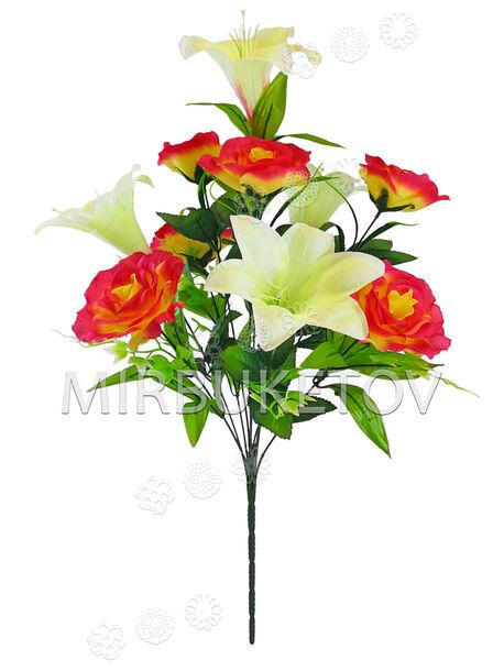 Искусственные цветы Букет Розы и Лилии, 10 голов, 680 мм