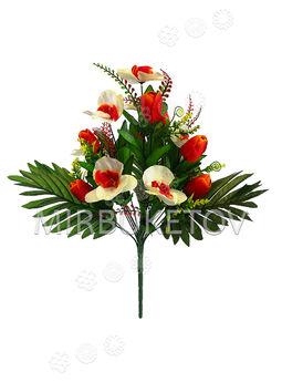 Искусственные цветы Букет Орхидеи и Тюльпана, 16 голов, 420 мм