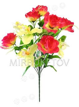 Искусственные цветы Букет Орхидеи и Розы, 13 голов, 680 мм