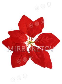 Искусственный цветок Пуансеттии (Рождественник), бархат, 210 мм