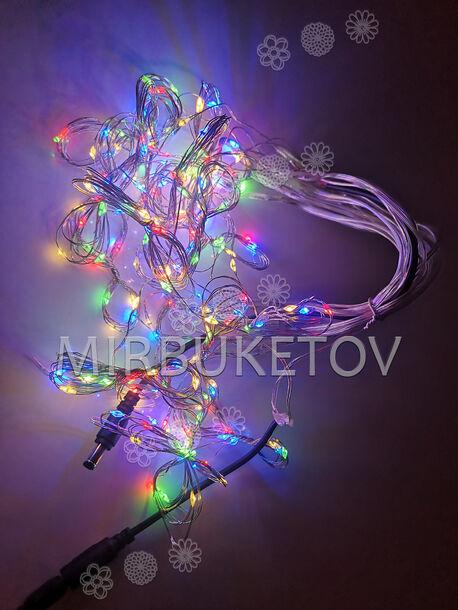Гирлянда бахрома проволочная разноцветная, 200 LED ламп, 3.0x1.0 м