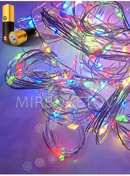Проволочная гирлянда LED на батарейках, разноцветная, 40 ламп