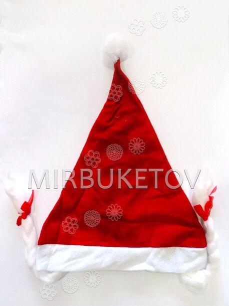 Новогодняя шапка Снегурочки, с помпоном и косичками, красная