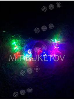 """Светодиодная гирлянда LED """"Звездочки"""", разноцветная, 20 ламп"""