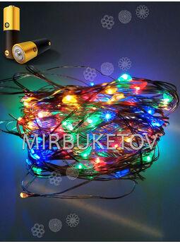 Гирлянда проволочная на батарейках LED разноцветная, 100 ламп, USB