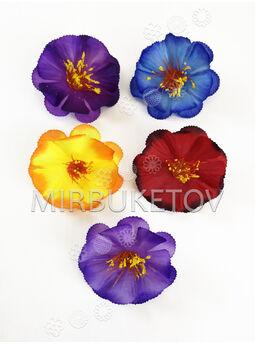 Искусственные пресс цветы с тычинкой 7 лепестков, 2 яруса, шелк, микс, 80 мм