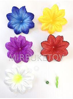 Искусственный пресс цветок с тычинкой Гибискус, атласный шелк, микс, 110 мм
