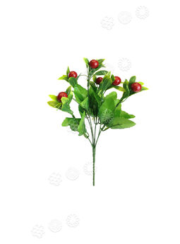 Искусственный букет Ягоды на 6 плодов, красный, 320 мм