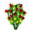 Траурный венок корзина из 16 роз (без подставки), микс, 34x57 см