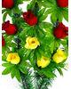 """Траурный венок корзина """"Красные и желтые бутоны роз"""", 16 роз, 34x57 см"""
