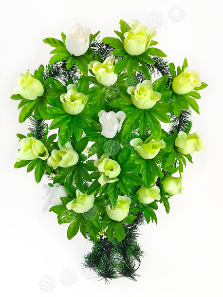 Траурный венок корзина с подставкой из 16 роз, микс, 34x57 см
