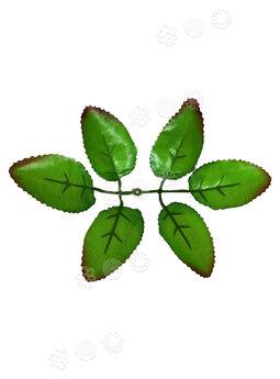 Искусственный Лист но ножку, 6 лепестков VIP, зеленый с коричневыми краями, 170 мм