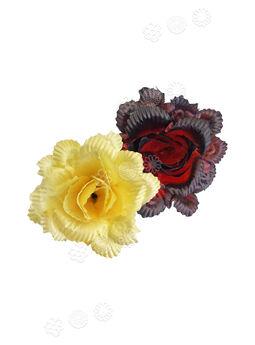 """Искусственные цветы Роза открытая """"павлин"""", атлас, 120 мм"""