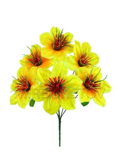 Искусственные цветы Букет Нарциссов, 6 голов, 420 мм