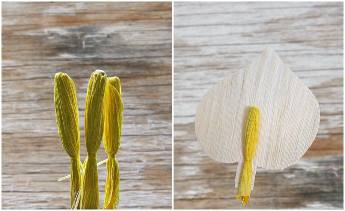 крепление тычинки каллы к листу