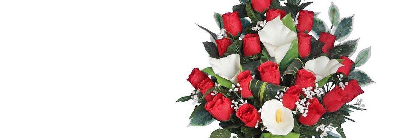 Мир Букетов: букет из красной розы и белой каллы
