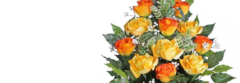 Мир Букетов: букет из оранжевых и цвета персика роз